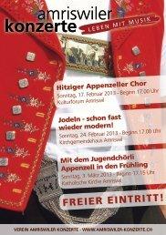 FREIER EINTRITT! - Jugendchörli Appenzell