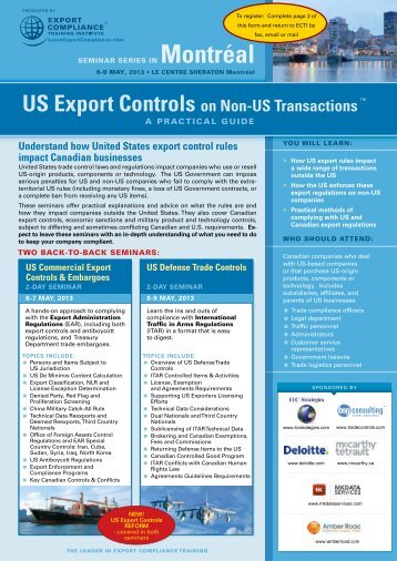 US Export Controls on Non-US Transactions