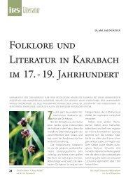 Folklore und Literatur in Karabach im 17. - 19. Jahrhundert