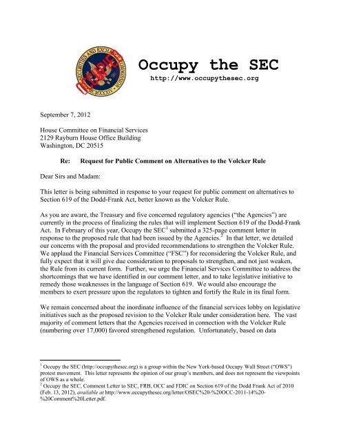 OSEC Volcker Alternative Comment Letter