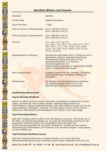 Namibias Wüsten und Canyons 2013 - Impala Tours GmbH