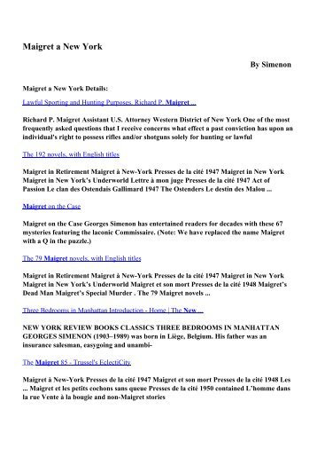Download Maigret a New York pdf ebooks by Simenon