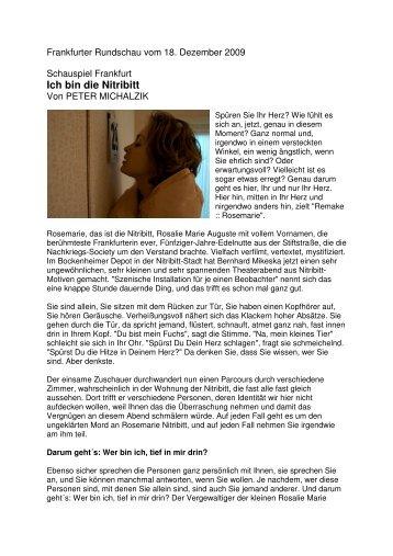 Kritik FRANKFURTER RUNDSCHAU vom 18.12 ... - Bernhard Mikeska