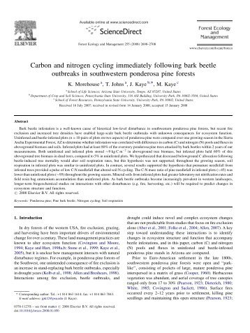 Carbon and nitrogen cycling immediately following bark beetle ...