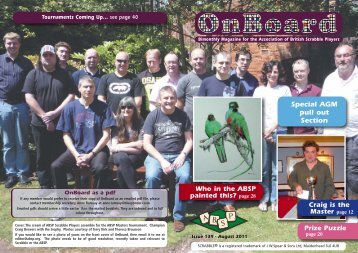 Issue 139 August 2011 - Association of British Scrabble Players