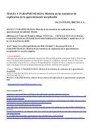 MAGIA Y PARAPSICOLOGIA. Historia de las tentativas de ...