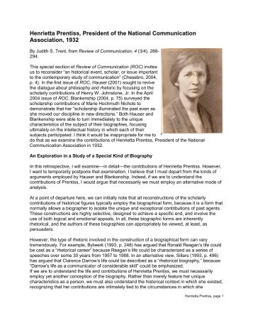 Henrietta Prentiss - National Communication Association