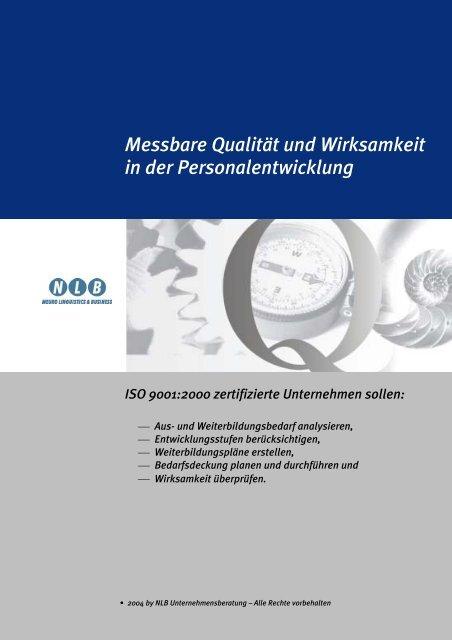 Messbare Qualität und Wirksamkeit in der Personalentwicklung ISO