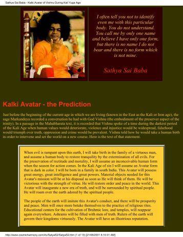 Sathya Sai Baba - Kalki Avatar of Vishnu During Kali Yuga Age