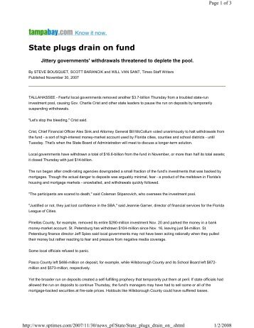 State plugs drain on fund - Pinellas County, FL - Clerk of the Circuit ...