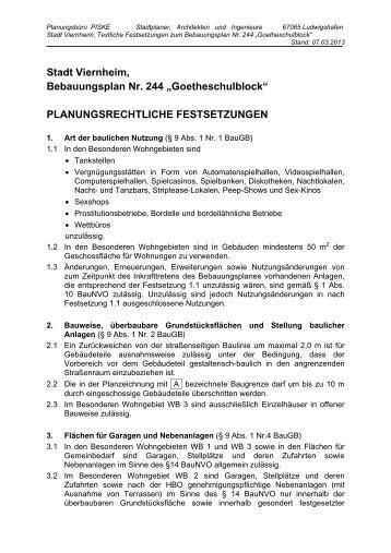 """Stadt Viernheim, Bebauungsplan Nr. 244 """"Goetheschulblock ..."""