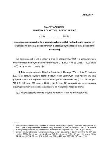 projekt rozporządzenia MRiRW - Małopolska Izba Rolnicza
