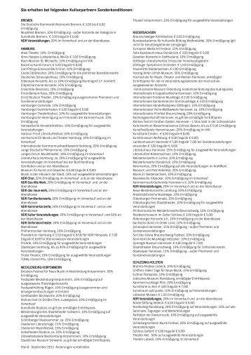 Sie erhalten bei folgenden Veranstaltungen ... - NDR Kultur Karte