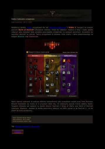 Diablo 3 kalkulator umiejętności Data publikacji ... - Diablo3.net.pl