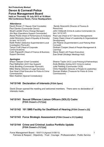 Devon & Cornwall Police Force Management Board