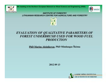 evaluation of qualitative parameters of forest underbrush used for ...