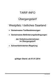 Übergangstarif 1/2014 - VRN Verkehrsverbund Rhein-Neckar