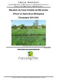 Résultats de l'essai Variétés de Blé tendre d'hiver en Agriculture ...