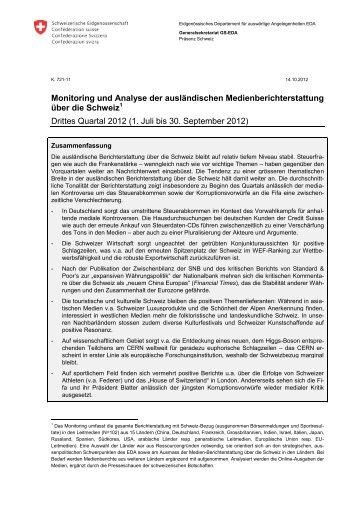 Medienberichterstattung Juli 2012 - Präsenz Schweiz
