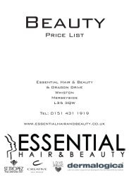 Price List - Essential Hair and Beauty