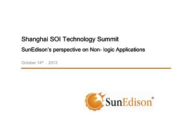 SunEdison's perspective on Non-logic Applications - SOI Industry ...