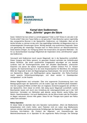 Kampf dem Sodbrennen - Marienkrankenhaus Soest