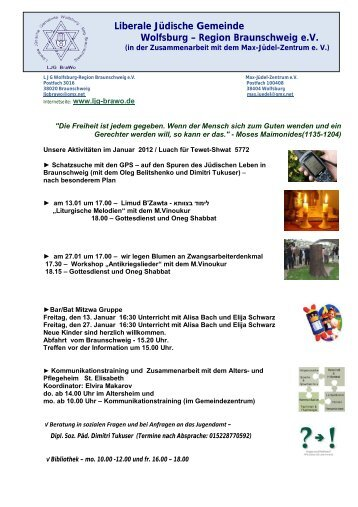 Plan für Januar 2012 - Liberale Jüdische Gemeinde Wolfsburg ...