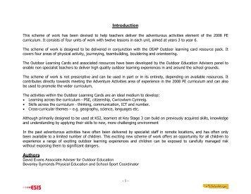 Scheme of work Adventurous Activities key stage 2