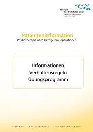 Physiotherapie nach Hüftgelenksoperationen - Klinikum ...