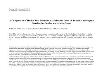 A Comparison of Health Risk Behavior in Adolescent Users of ... - AYF