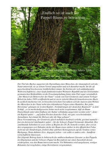 """""""Endlich so ist auch der Pappel-Baum zu betrachten …"""" - wolfslight.de"""