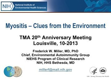 Clues from the Environment - The Myositis Association
