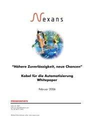 """""""Höhere Zuverlässigkeit, neue Chancen"""" Kabel für die ... - Nexans"""