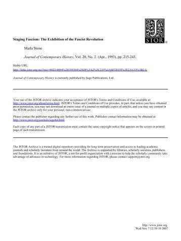 Staging Fascism: The Exhibition of the Fascist Revolution - Quidditas