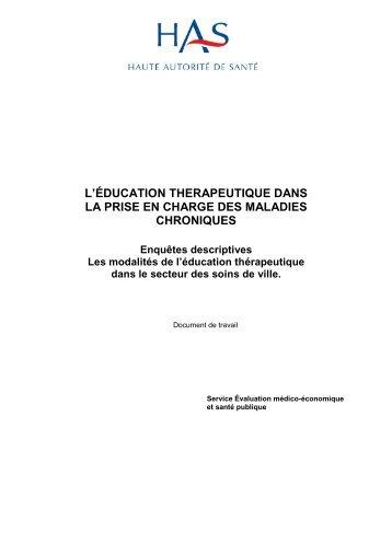 Résultats d'enquêtes descriptives - Haute Autorité de Santé