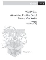 Poverty 6 World Vision Alive at Five: The Silent Global Crisis of Child ...