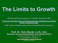 Präsentation von Felix Ekardt - Wachstum im Wandel