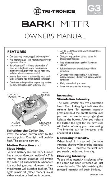 OWNERS MANUAL - Dog Bark Collar
