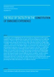 The Role of Tactility in the Constitution of Embodied Experience