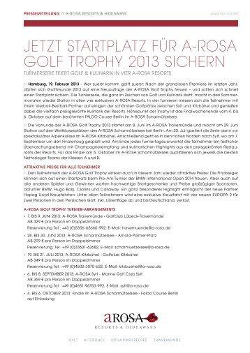 jetzt startplatz für a-rosa golf trophy 2013 sichern - Resort A-Rosa