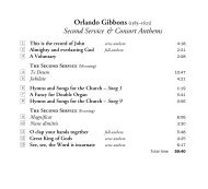 Orlando Gibbons (1583–1625) Second Service & Consort Anthems