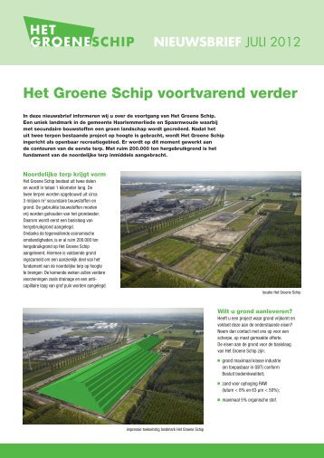Het Groene Schip voortvarend verder