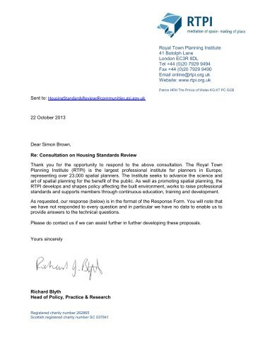 RTPI response to the Housing Standards Review - Royal Town ...
