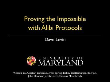 Proving the Impossible with Alibi Protocols