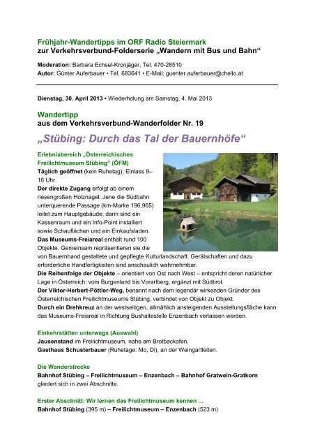Stübing: Durch das Tal der Bauernhöfe - Verkehrsverbund Steiermark