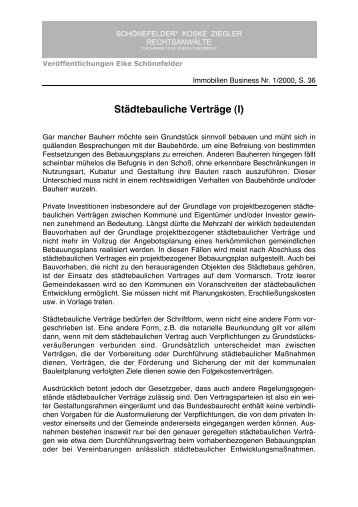 Arbeitsblatt städtebaulicher Vertrag