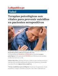 Terapias psicológicas son vitales para prevenir suicidios en ...