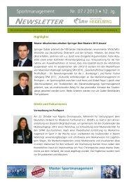 Newsletter 7/2013 - SRH Hochschule Heidelberg