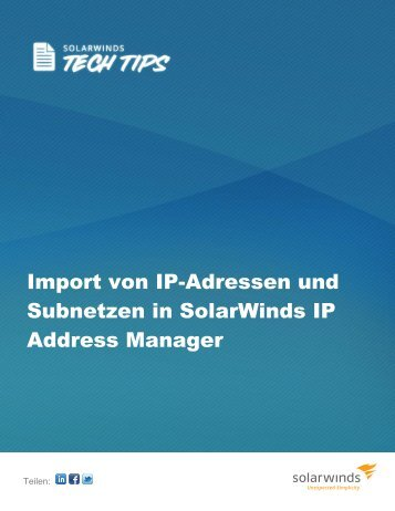 Import von IP-Adressen und Subnetzen in SolarWinds IP Address ...