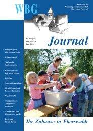 WBG Journal - Wohnungsbaugenossenschaft Eberswalde Finow eG